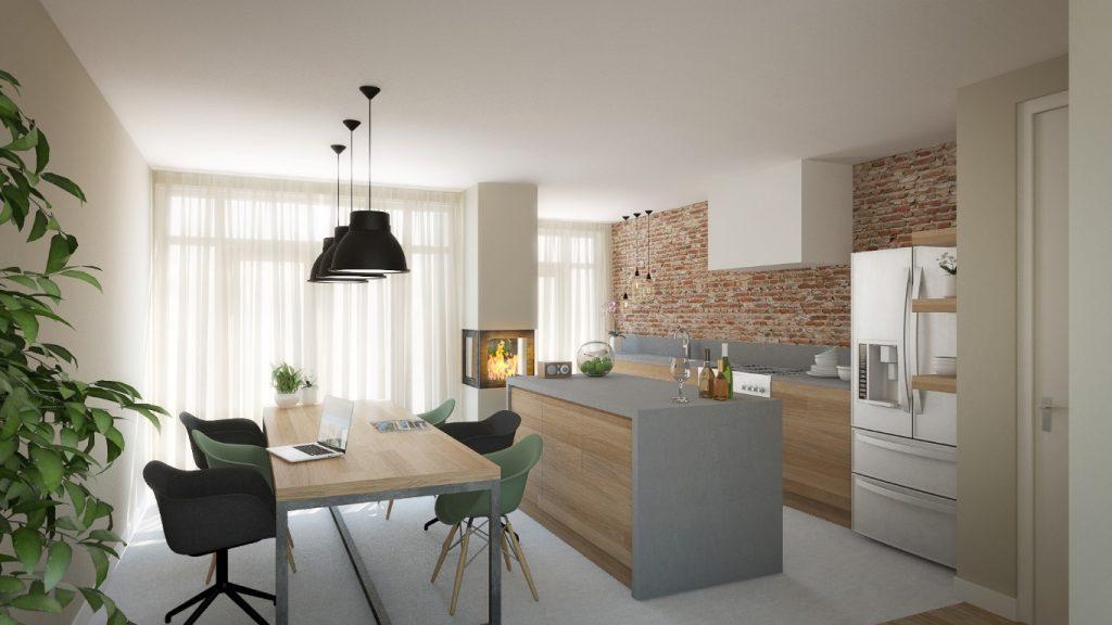 3d visualisatie van interieur woonhuis